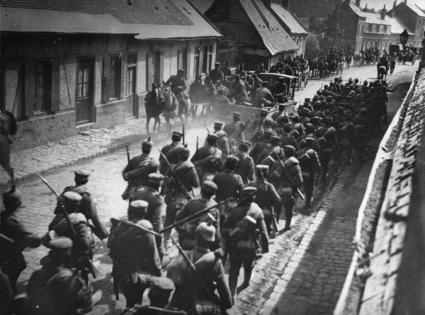 German infantry marching through St Sulpice on the Western Front during World War I