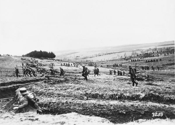 German infantry Regiment training at Sedan, attacking high ground with artillery support during World War I in France