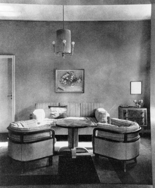 Woman's living room with particularly stylish armchairs; designed by Paul Gresser-Bielefeld. Date: 1920s
