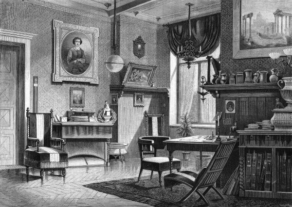 The arbeitszimmer (workroom) of Friedrich Hacklander, editor of Ueber Land und Meer, with furniture and furnishings characteristic of a middle- class German household. Date: 1877