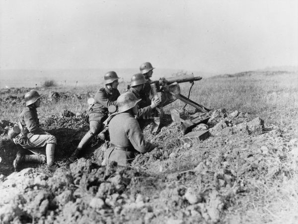 German troops firing a Maxim MG, German heavy machine gun, during World War I