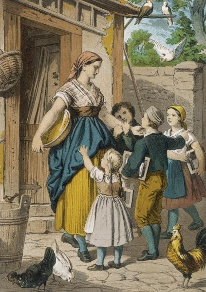 A German peasant mother and her children at the door of their cottage