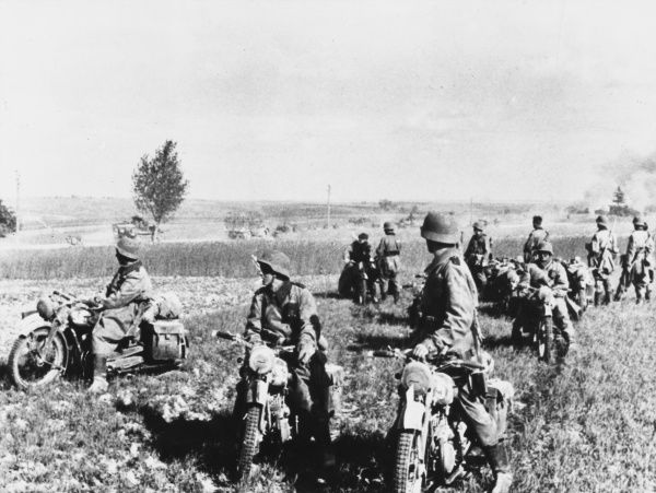 German motorcycle patrol on reconaissance in France during World War II