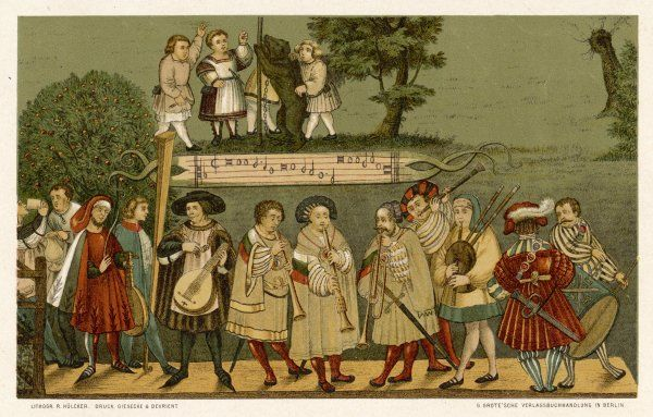 A group of German musicians perform on a wide variety of instruments to provide music for dancers : lute, bagpipes, clarinet, trombone, flute, drum, monochord are featured