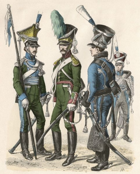 Uhlan (left), Cavalry (centre) and Hussar (right) Date: 1813 - 1822