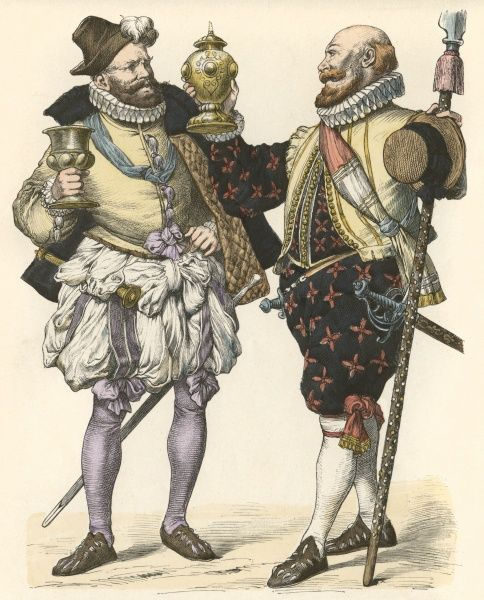 Two German noblemen wear small ruffs, doublets, cut-fingered pumps, hose or breeches ornamented with embroidery or ribbon bows, a sleeveless jerkin & short cloak. Date: 1570 - 1588