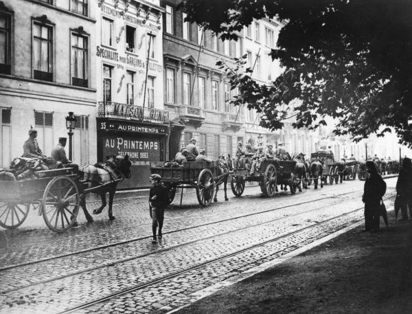 German horse-drawn transport passing through the Boulevard Bauduin during the occupation of Brussels, Belgium, during the First World War. Date: 26 August 1914