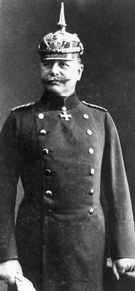 German officer of World War One (unidentified), in uniform, wearing a pickelhaube spiked helmet. Date