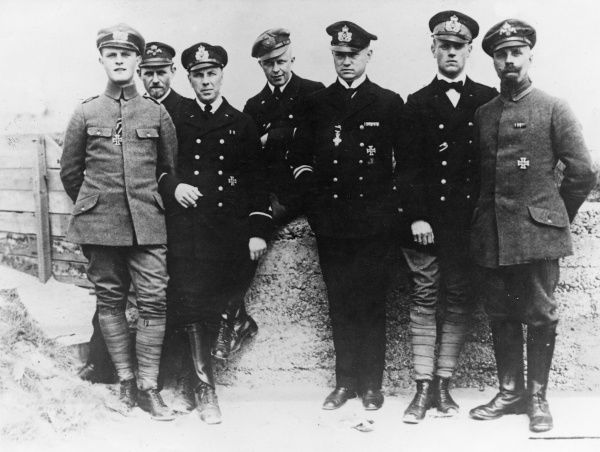 German officers who defended the sea port of Zeebrugge against British attack during the Zeebrugge Raid (23 April 1918), Belgium, First World War