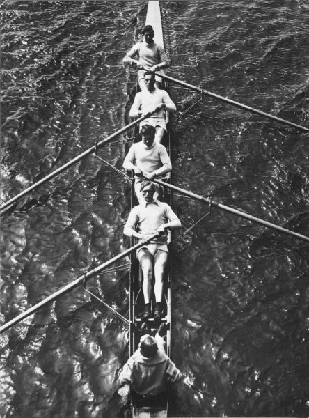 The German Olympic 4 man rowing team with cox in 1932