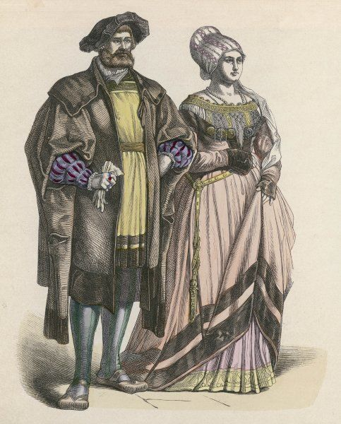 A patrician couple dressed for an important occasion