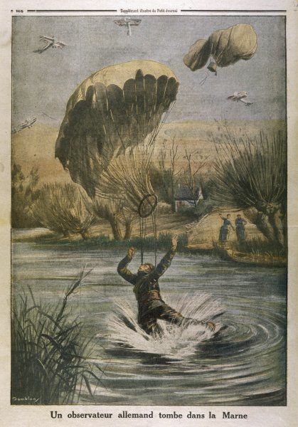 A German observer's parachute lands him in the river Marne