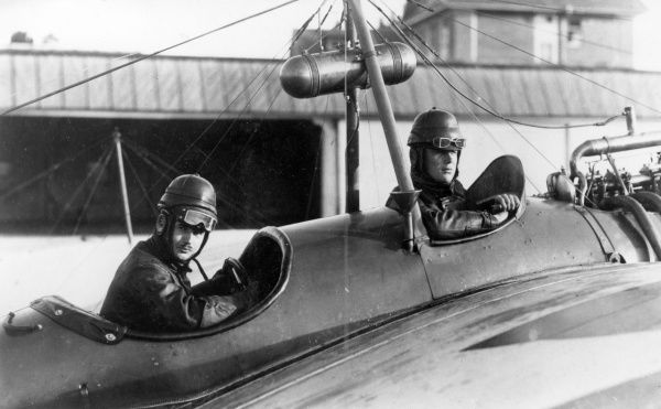 Two German pilots in a Taube two-seater monoplane during the First World War. Date: 1914-1918