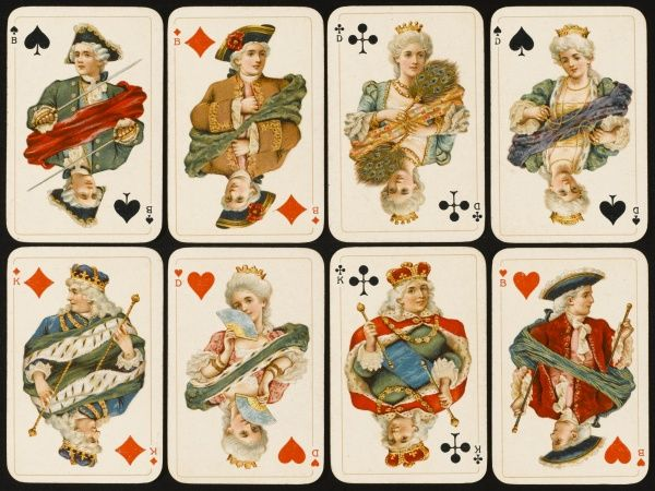 An assortment of playing cards: kings, queens and knaves