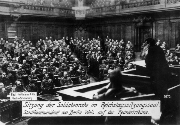 The German'Revolution.' The Soldiers Council sitting in the Reichstag, Berlin