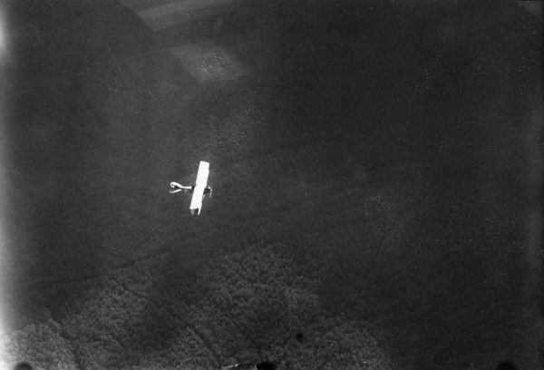 A German Rumpler-Taube plane in flight, viewed from above, during the First World War. Date: 1917-1918