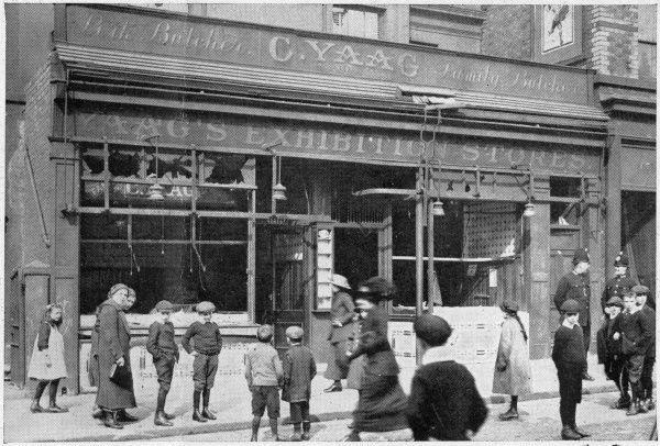 A German shop wrecked by a crowd in Liverpool following the sinking of the 'Lusitania' by German submarine. Liverpudlians formed a large part of the Lusitania's crew
