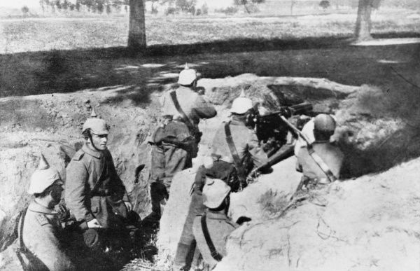 German soldiers in a trench near Antwerp on the Western Front during World War I
