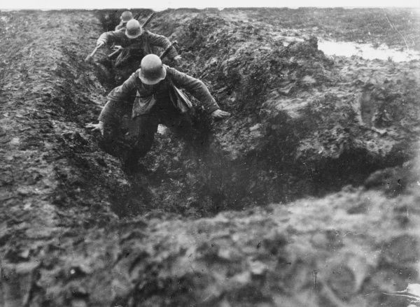 German storm troopers avoiding the mud in the trenches during World War I in Romania