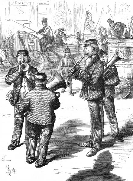 Out of time and out of place: a German band perform on Regent Street, London. Traffic whizzes past as two policemen close in... Date: 1870