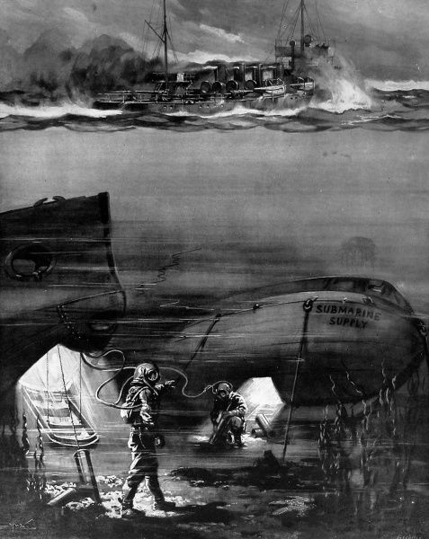 An illustration by H. W. Koekkoek to suggest how German submarines re-fuelled. With increased activity by German submarines, there was some speculation about this matter. The illustration shows divers drawing fuel from a submersible supply-boat