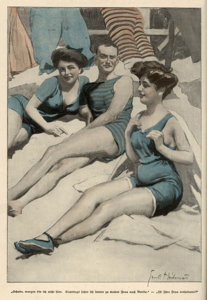 One-piece bathing costumes for men & women. His is striped, the lady's ones have 'V'-necks & short legs. The lady in the sleeveless costume wears bathing shoes or espadrilles