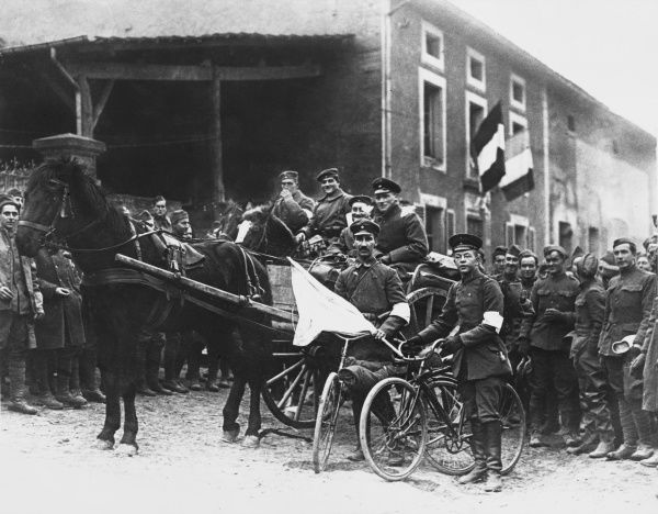 German soldiers surrendering on the Western Front during World War I
