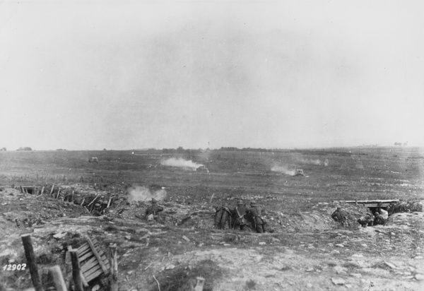 German tank attack on the Western Front during World War I