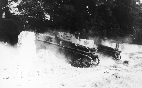 German tanks in France during winter in World War II