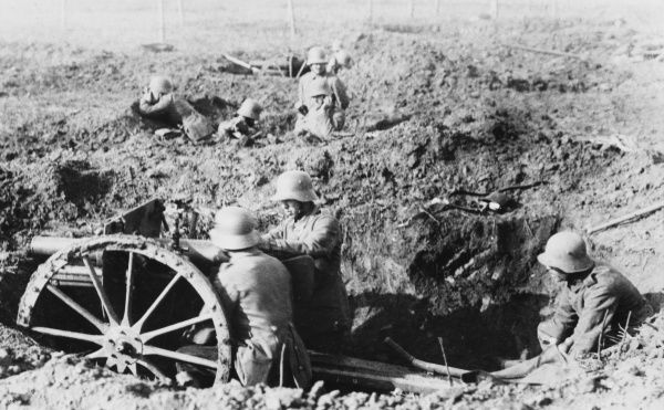 German Trench gun in action on the Somme during World War I
