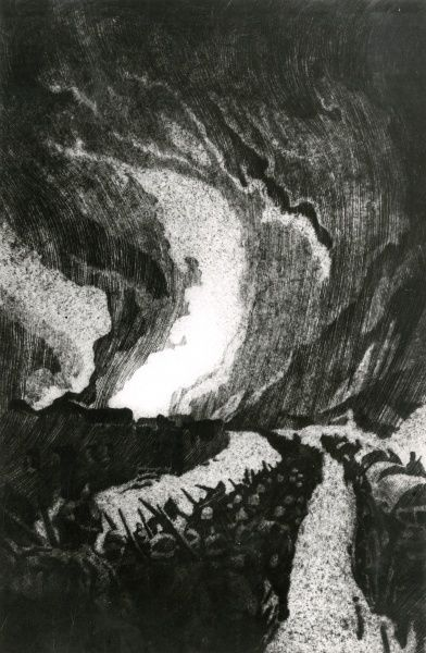 German troops on the march during the First World War in an etching by the artist Erich Erler. Date: 1914-1918