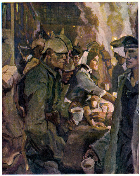 A jolly German girl offers refreshments to German troops at a railway station