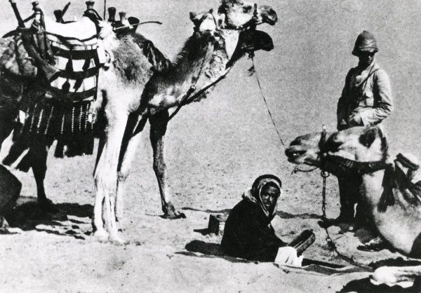 A German-Turkish patrol at an oasis, with camels, Mesopotamia, during the First World War. Date: 1914-1918