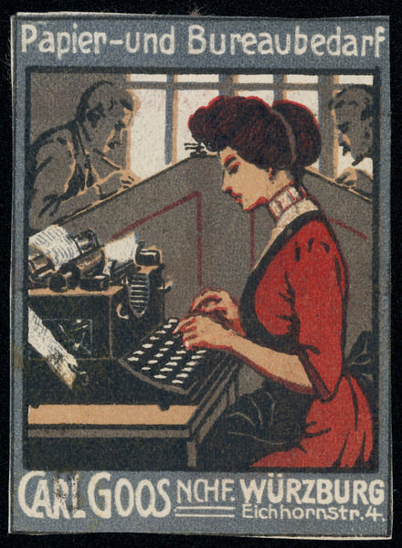 A German typist at her machine