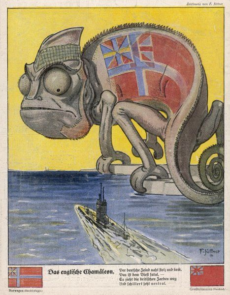 Terrified by German U-boats, the English pretend to be neutral (the Norwegian and British merchant navy flags are conveniently similar !)