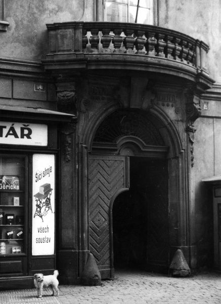 The entrance doorway to the German University, Prague, Czechoslovakia. Date: 1930s