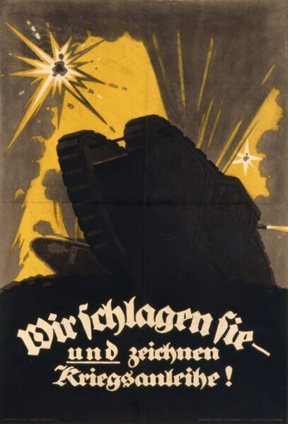 German war loans poster showing the looming body of a tank against a sky littered with shell explosions