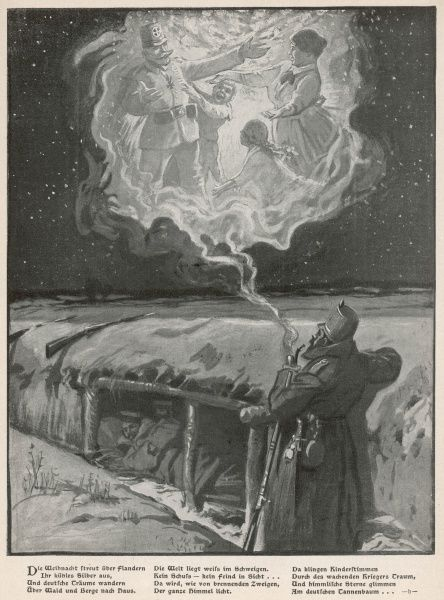 A German soldier in the trenches imagines himself with his family at Christmas time