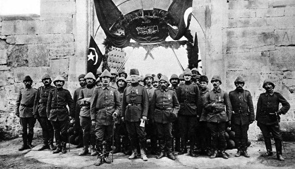 Turkish and German soldiers at the entrance of a Krupps munitions factory near Constantinople. Turkey entered the war as an ally of Germany in October 1914