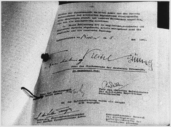 The signed German Act of Capitulation to the Russians, effectively ending the war in the west