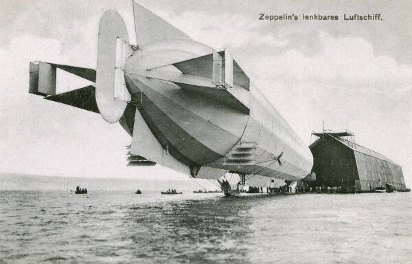 Germany - Early Zeppelin airship docking at a floating hangar