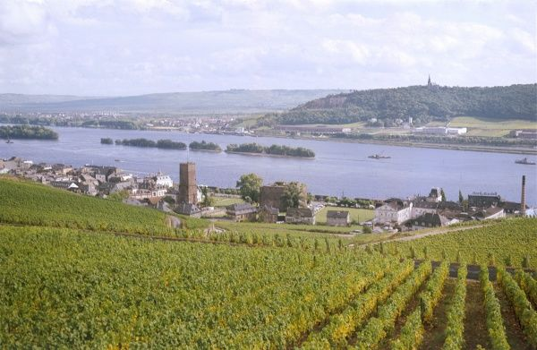 The lovely town of Rudesheim, Rhine Valley, Germany. Date: 1967