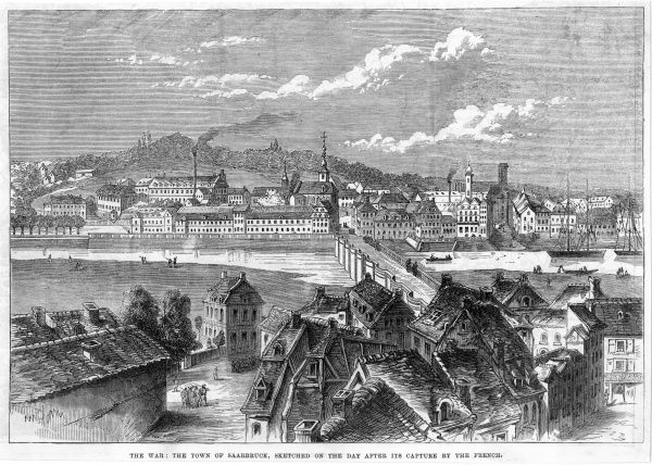 The town sketched on the day after its capture by the French, one of Prussia's rare losses during the Franco- Prussian war