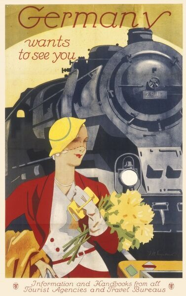 Germany wants to see you : travel poster encouraging tourism, featuring an elegant lady carrying a bunch of yellow flowers in front of a steam train from which she has presumably just disembarked