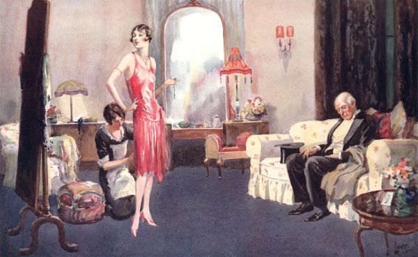 Illustration showing a fashionable young woman getting ready, with the help of her maid, for a formal evening event as her more mature escort waits patiently on a sofa. This image was originally entitled 'The Silk Worm&#39