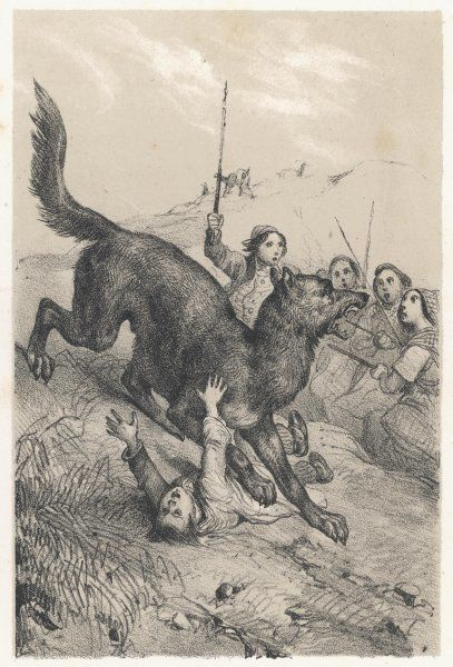 LA BETE DU GEVAUDAN The beast attacked by peasants as it claims another victim