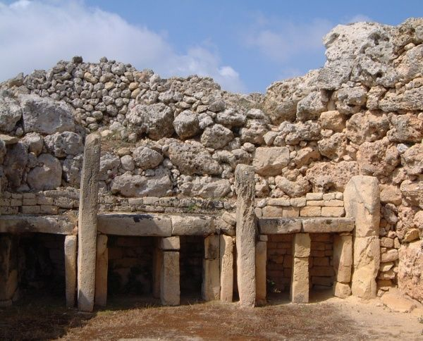 The Temple site at Ggantija close to Xhagra on the Maltese island of Gozo. These temples have been dated to circa 3000 BC