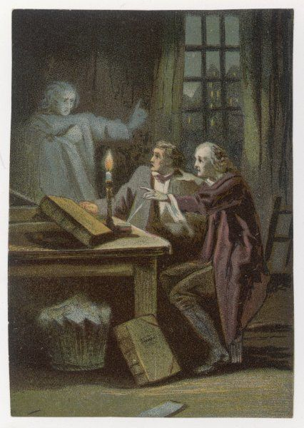 A spectral figure materialises in a candlelit room where two men are roused from their books. The older man points ahead while the ghost points upwards. A ghostly warning?