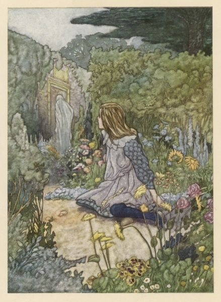 A girl in a garden looks up to see a mysterious figure moving towards the gate