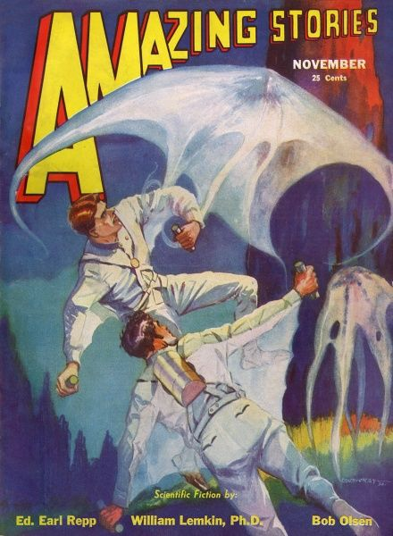 'CAPTAIN BRINK OF THE SPACE MARINES' (Bob Olsen) The Space Marines face the threat of giant amoebas on Titan - highly intelligent amoebas they are, moreover. Date: 1932